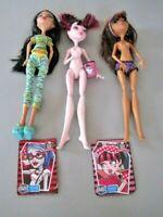 Lot of 3 Monster High Dead Tired Dolls: Drauculaura~Cleo De Nile~ Clawdeen Wolf