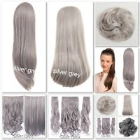 Hair Scrunchie Messy Wrap Grey Clip in Extension Ponytail Hairpiece