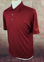 Nike Golf Dry-Fit Polo Short Sleeve 100% Polyester Red Orange Shirt Men's M