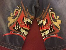 Parish Jeans Shorts Size 36 36x14 36/14 EUC w/ Embroidered Japanese Oni Face