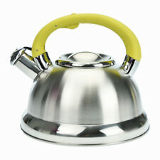 Whistling Kettle 3L Yellow Silver Stainless Steel Hob Stove Gas Fast Boil Gift