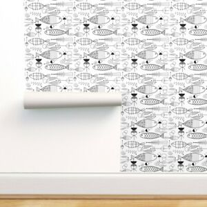 Removable Water-Activated Wallpaper Mid Century Fish Black Midcentury Abstract