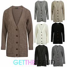 Womens Cardigan Knitted Knitwear Button Up Cable Knit Long Pocket Cardi New