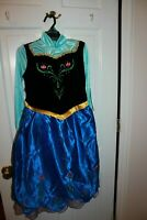 DISNEY FROZEN ANNA DELUXE COSTUME DRESS Cape & Clasp Included NEW Girls 7/8 M