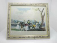 painting Goya la gallina ciega printed in spain,Vintage 1995 ,Wooden frame roses