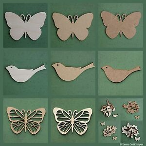 Wooden bird and butterfly shape blank mdf and plywood craft tag for plaques