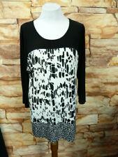 Avenue Woman Plus Size 18/20 Black White Blouse 3/4 Sleeve Crew-neck I-1