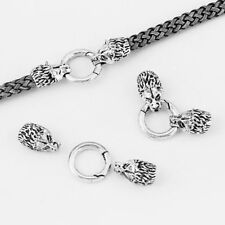 2 Sets Antique Silver Wolf Bracelet End Cap & Spring Clasp For 8mm Leather Cord