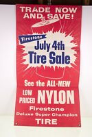 Vintage Firestone Store Display Sign Poster Banner Tire Car Paper Cardboard