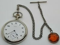 Vintage Working 1921 ELGIN 17J Silver Art Deco Pocket Watch with Watch Chain 16s