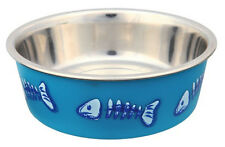 Stainless Steel patterned cat feeding / water bowl  by Trixie