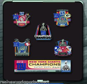 NEW YORK GIANTS SUPER BOWL XLV 46 CHAMPIONS 5-PIN SET ELI MANNING NUMBERED RARE