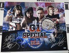 Kazuchika Okada Kenny Omega Tanahashi & Naito Signed NJPW G1 USA 20x24 Photo COA