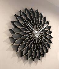 Black wall clock,89 cm ,large, modern, handmade, natural wood