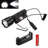 Tactical 5000Lm XML T6 LED Flashlight Gun Mount Hunt Light 2*18650+Red Laser Dot