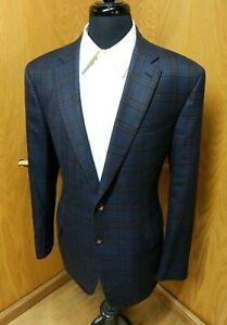 Mens Blazer Sport coat Jacket Brioni 46r Navy Blue box check 100% Wool N#183