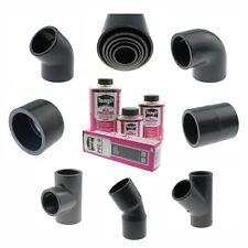 PVC Rohr Fitting Winkel Muffe PVC-U Teich Koi Druckrohr Garten T-Stück 20-110mm