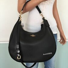 NEW! COACH Gorgeous Pebbled Leather Hobo Shoulder Bag Crossbody Purse Black