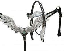 Showman BLACK Angel Wing Leather Headstall & Breast Collar Set! NEW HORSE TACK!