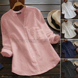 US STOCK Women's Linen Cotton Vintage Button Down Shirt Tops V Neck Loose Blouse