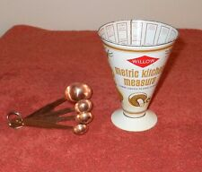 VINTAGE 1970's WILLOW MEASURING CUP TIN JUG ANODISED ALUMINIUM MEASURING SPOONS