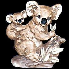 Vintage Mid Century Uctci Japan Matte Porcelain Ceramic Koala and Joey Figurine