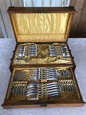 Whiting Manufacturing Co 1800s Silverware Berries Dessert Set + Original Oak Box
