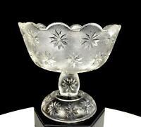"BEATTY-BRADY INDIANA GLASS STIPPLED SANDBUR STAR VARIANT 5"" COMPOTE 1898-1905"