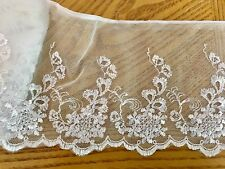 "Cream White Floral Embroidered Lace Trim with White Tulle for Sewing/5"" Wide"
