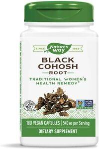 NATURE'S WAY BLACK COHOSH ROOT 180 VEGAN CAPSULES 03/31/25