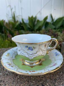 Antique Meissen Porcelain Demitasse Footed Cup w Saucer Encrusted Gold & Flowers