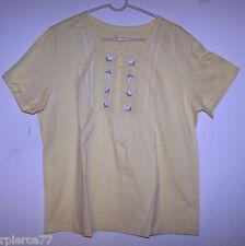 DENIM & CO. Short Sleeved YELLOW Top  w/Lace & Floral Design - Sz XL - NWOT!