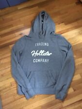 Women's Hollister Gray Hoodie Sweat Shirt Size M Silver Logo Front - Excellent