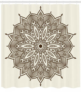 Brown Mandala Pattern Shower Curtain Fabric Decor Set with Hooks 4 Sizes