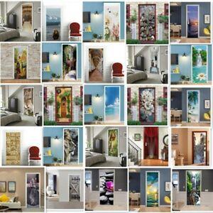 Mustard Yellow Grey Abstract Door Wall Sticker Self-adhesive Mural Home Decor