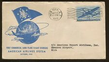 1945 New York 1st Land Plane Fight Overseas American Airlines Air Mail Cover