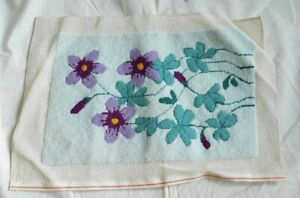 Vintage Needlepoint Chair Pillow Cover Romantic Spring Violets Furniture Floral