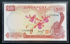 Singapore $10 Orchid Banknote GKS A/77 777894 UNC