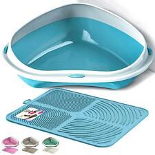CatCentre® Large & Jumbo Corner Cat Litter Tray + Nonslip Mat Set Box Loo Toilet