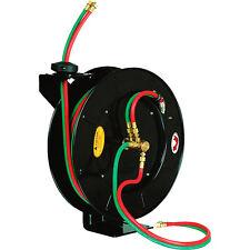 "Retractable Torch Welding Hose Reel 50ft 1/4"" Auto Rewind Oxygen Acetylene Wall"