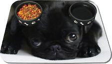Personalised Cute Black Pug Pet Mat Dog Feeding Mat Rubber Backed  High Qualily
