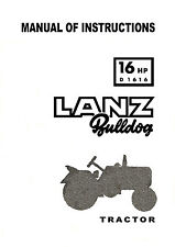 Lanz Bulldog 16HP D1616 Tractor Instruction Manual