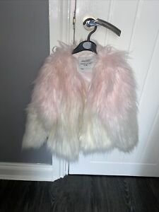 Girls Pink And White Flulffy Coat Age 7 Years