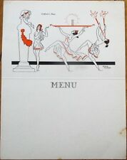Menu: French 1950 Mictasol Advertising-Nude, Bacchus-Roger Cartier/Artist-Signed