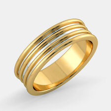 Gold Men's Band Men's Rings Real 14k Hallmarked Yellow Gold Ring 654