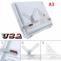 A3 Drafting Drawing Board  Ruler Table Adjustable Angle Tool Set  US