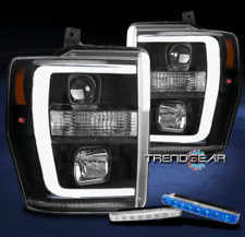 FOR 2008-2010 FORD SUPER DUTY LED TUBE BLACK PROJECTOR HEADLIGHTS W/BLUE DRL KIT