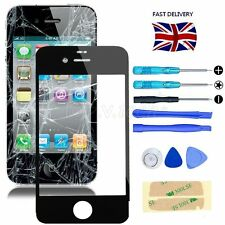 Black Front Screen Glass Lens Replacement Repair Kit+Adhesive For iPhone 4 / 4S