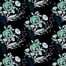 Türkis Weiß Schwarz Blumen Blüten Bio Patchworkstoff Stoff Baumwollstoff Cloud9