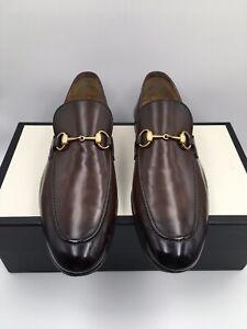 Gucci Jordaan Brown Leather Horse bit Loafer Mens UK 9/US 10